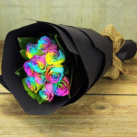 Rainbow Roses - 10 Stems