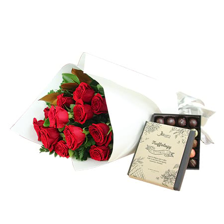Lush Red Xmas Roses and Chocolate Truffle Gift for Xmas Delivered in Sydney
