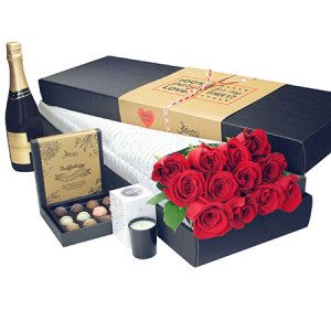 12 Long Stem Red Roses with Chocolate and Bubbly (Sydney Melbourne Perth Only)