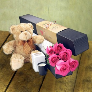 6 Long Stem Pink Roses and Love Bear