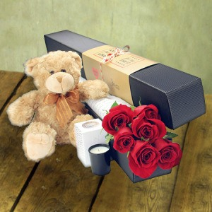 6 Long Stem Red Roses with Love Bear (Sydney Melbourne Perth Only)