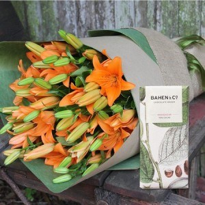 Autumn Lilies with Madagascan Chocolate (Sydney Only)