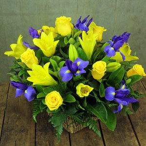 Bright Flower Basket Arrangement
