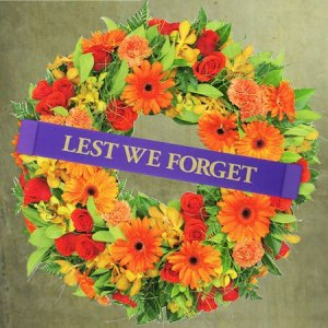 Bright Orange Anzac Day Wreath Delivered