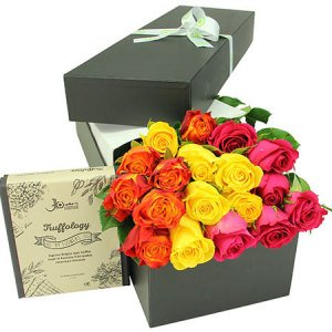 Chocolate with bright roses