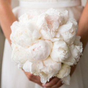 Medium Clustered Bridal Bouquet of White Peonies