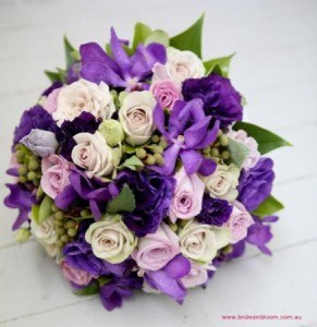 Medium Clustered Purple Bridal Bouquet