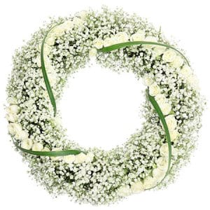 Delicate White Funeral Wreath Delivered Sydney