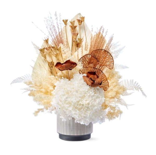 Preserved White Flowers in Pot Delivered Sydney