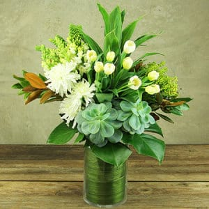 Fresh White Spring Vase With Tulips Delivered in Sydney