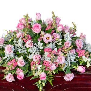 Funeral Casket Flowers - Delicate Pink