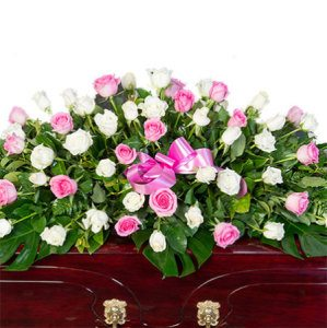 Funeral Casket Flowers - Pink & White Roses