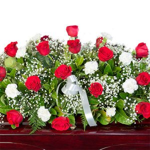 Funeral Casket Flowers - Red & White Roses
