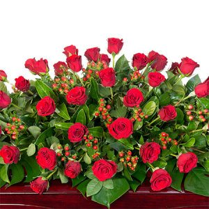Funeral Casket Flowers - Red Roses