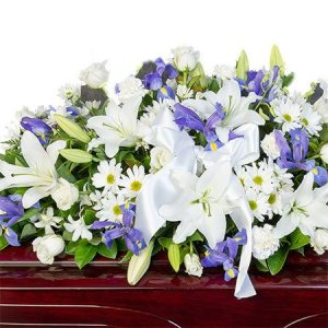 Funeral Casket Flowers - White & Purple
