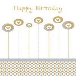 Gift Card Happy Birthday Gold Hearts