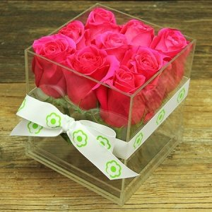 Hot Pink Rose Cube Flowers Delivered Sydney