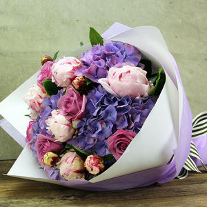 Blue hydrangea, rose and peony flower bouquet delivered in Sydney