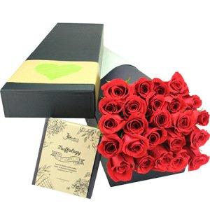 Indulgent roses with chocolate