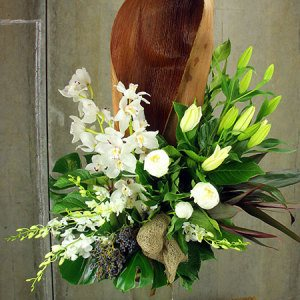 Large White Winter Sympathy Arrangement