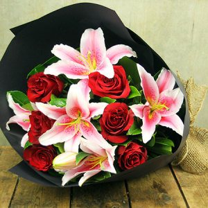 Lily & Rose Bouquet (Pink and Red)
