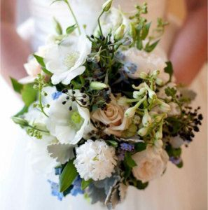 Medium Loose Bouquet with Blue Delphinium & David Austin Roses