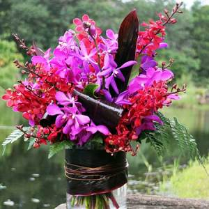 Lush Orchid Flower Arrangement for Valentines Day