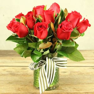 Lucky in Love Red Roses Delivered in Vase