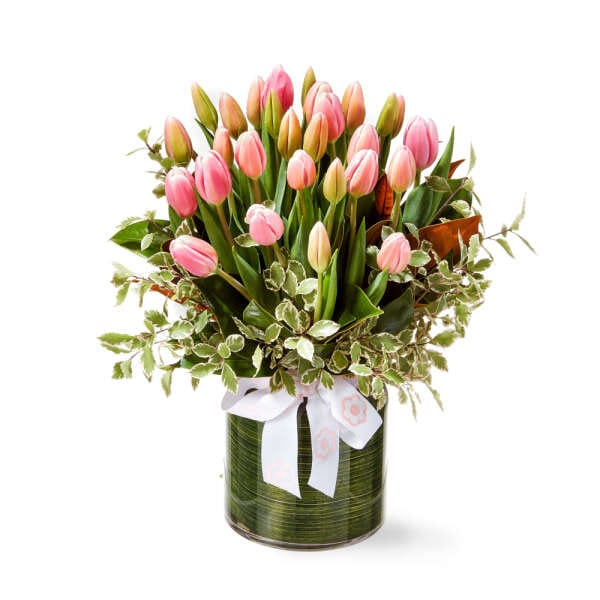 Pink Tulips in a Vase Delivered