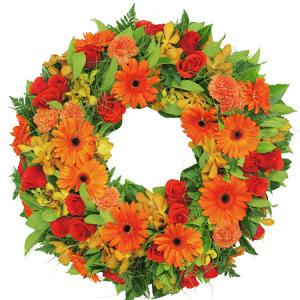 Lush Orange Sympathy Wreath Delivered