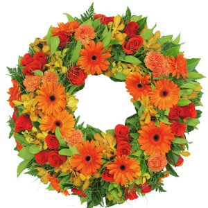 Lush Orange Sympathy Wreath Delivered