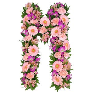 Lush Pink Floral Alphabet Letters for Sydney Funeral Tributes