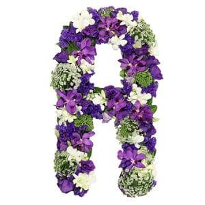 Lush Purple Floral Alphabet Letters for Funeral Casket Sydney