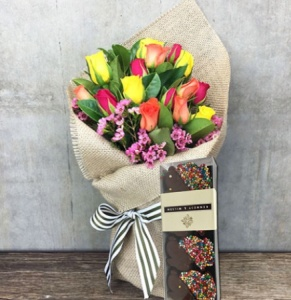 Easter gift ideas flowers and chocolate eggs delivered flowers mixed rose posy with freckle bunnies sydney only negle Image collections