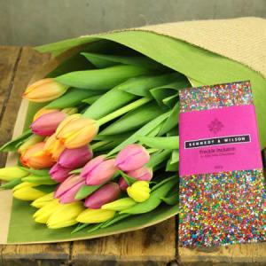 Mixed Tulips and Freckle Choc (Sydney Only)