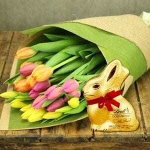 Mixed Tulips with Lindt Bunny