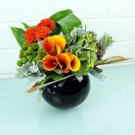 Modern Floral Fishbowl Vase Arrangement