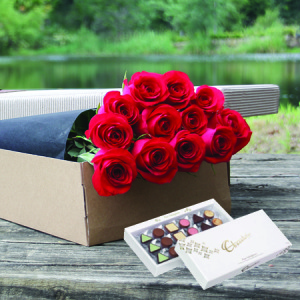 One Dozen Red Roses with FREE CHOCOLATE (Perth Only)