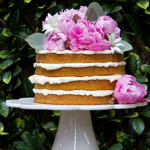 One Tier `Naked Cake` with Pink Flowers