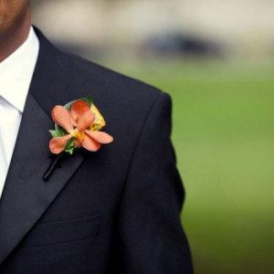 Orange Vanda Orchid Buttonhole
