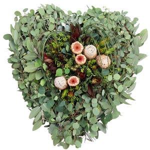 Organic Love Memorial Heart Sydney Funeral Casket Flowers