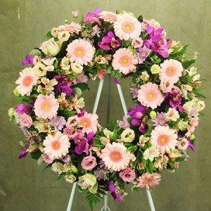 Pink Floral Sympathy Wreath