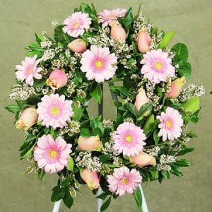 Pink Gerbera and Rose Wreath