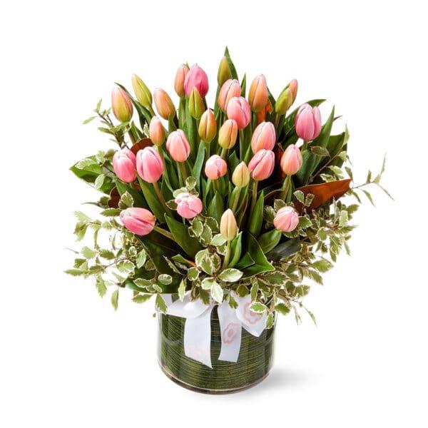 Pink Tulips in a Vase Delivered