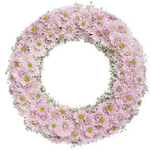 Precious Pink Daisy Wreath for Funeral Caskets Sydney