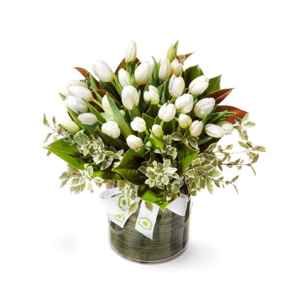 Fresh White and Green Vase Arrangement With Tulips Delivered in Sydney