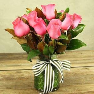 Pretty in Pink Roses Delivered in Vase