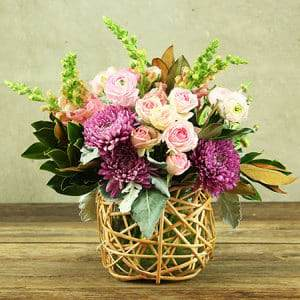 Pretty Pink & Mauve Basket of Fresh Flowers Delivered
