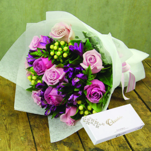 Pretty Purple Posy with FREE CHOCOLATE (Perth Only)
