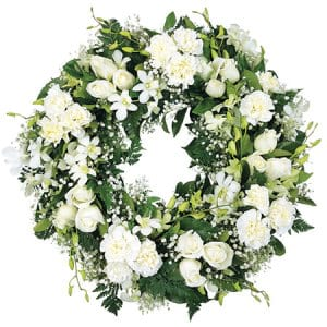Pretty White Funeral Wreath